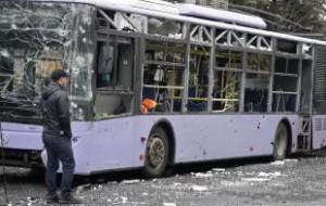 В Донецке под массированный обстрел попал троллейбус